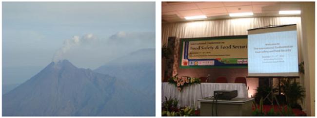 左:噴火が沈静したマラウィー山(火山の噴火でシンポジウムの開催が危ぶまれた。飛行機より撮影) 右:シンポ開催会場