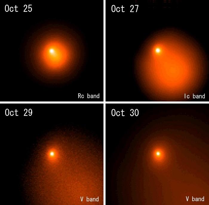 ホームズ彗星中心付近の10月25日から30日の変化