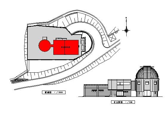 ドーム施設設計図(周辺の配置と施設立面)