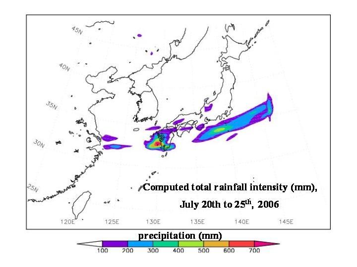 2006年7月20日~26日の間の総雨量(シミュレーション結果)