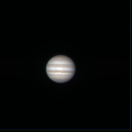 木星(2009年 高速カメラにて撮影後、三色合成)
