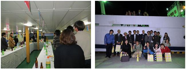 船上パーティの様子と記念撮影