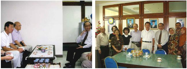 左:アイルランガ大学副学長との会談 右:副学長室での記念撮影