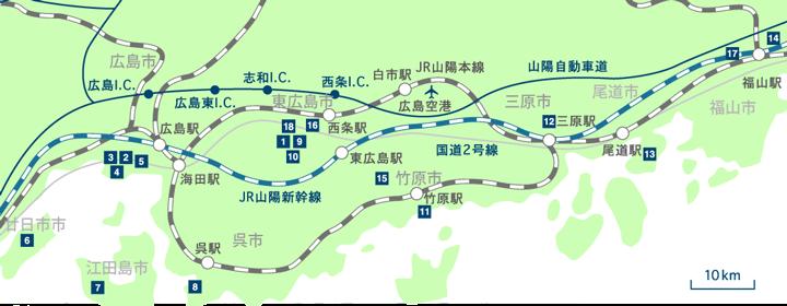 广岛大学的校园设施等位置图