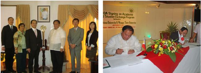 左:調印式前、学長室での懇談後の記念撮影 右:調印式、協定書へのサイン
