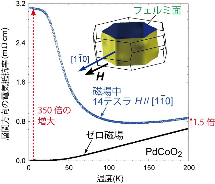 図3. PdCoO2の単結晶の磁場中電気抵抗の温度依存性