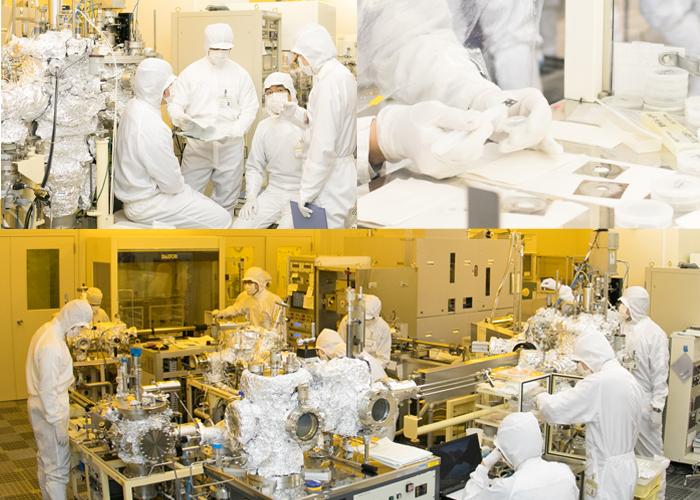 Associate Professor Kuroki and students conduct experiments in a super-cleanroom