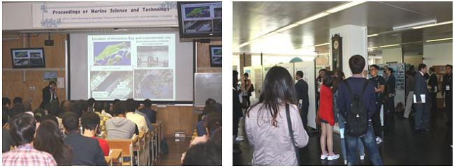 左:シンポジウムでの基調講演 右:ポスターセッションの様子