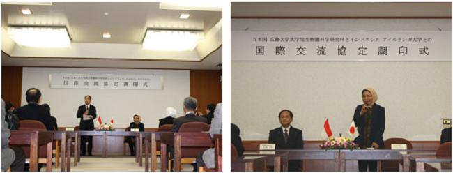 左:調印式での江坂研究科長の挨拶 右:Bendryman 水産海洋学部長の挨拶