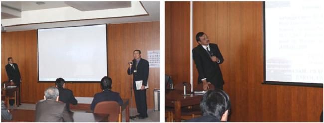 左:司会のLiao特任准教授 右:Alamsjah 副学部長によるアイルランガ大学の説明