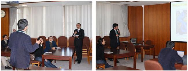 左:活発な質疑応答も 右:井関教授によるインドネシア関係の研究説明