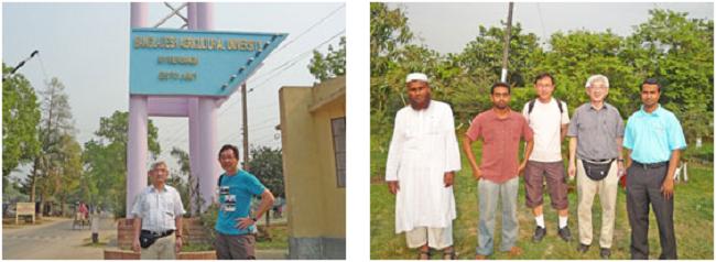 左:バングラデシュ農業大学 正門前にて吉村副研究科長(左)と前田教授(右) 右:大学の果樹園を見学